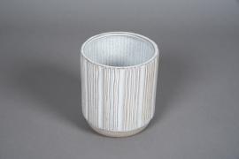 A575HX Cache-pot en céramique strié blanc D14cm H16cm
