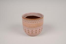 A577DQ Pink ceramic planter pot D12cm H11cm