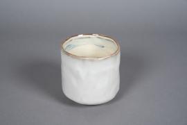 A577HX Ivory ceramic planter pot D13cm H14cm