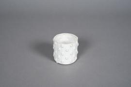 A579HX Cache-pot en céramique à pois blanc D8cm H7cm