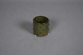 A580HX Cache-pot en céramique à pois vert D8cm H7cm