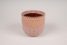 A581DQ Pink ceramic planter pot D13.5cm H13cm