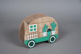 A582HX Cache-pot caravane en bois 20x9cm H15.5cm