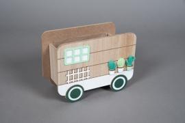 A584HX Cache-pot caravane en bois 20x9.5cm H15cm