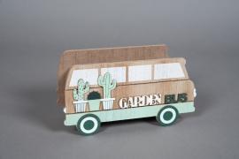 A585HX Wooden planter bus 21x8cm H11cm