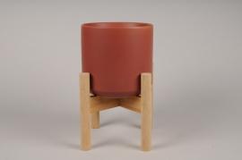 A589HX Red ceramic planter D24cm H30cm