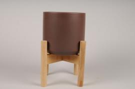 A591HX Brown ceramic planter D24cm H30cm