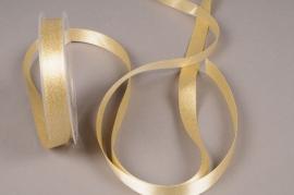 A624UN Gold satin ribbon 15mm x 25m