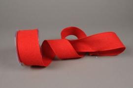 A628UN Red cotton ribbon 63mm x 10m