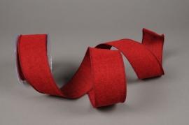 A629UN Burgundy cotton ribbon 63mm x 10m