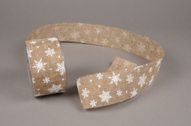 A644UN Natural jute ribbon with print 63mm x 20m