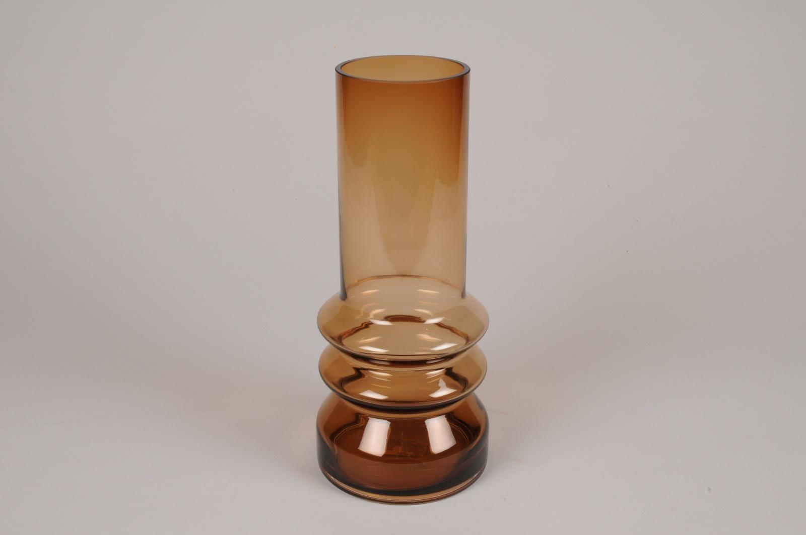 A657LE Vase en verre ambre D11cm H26cm