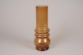 A658LE Vase en verre ambre D12cm H32cm