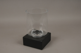 A662UO Glass tealight holder on black iron base 18X18cm H30cm
