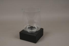 A662UO Glass tealight holder on black iron base 18X18cm H30cm
