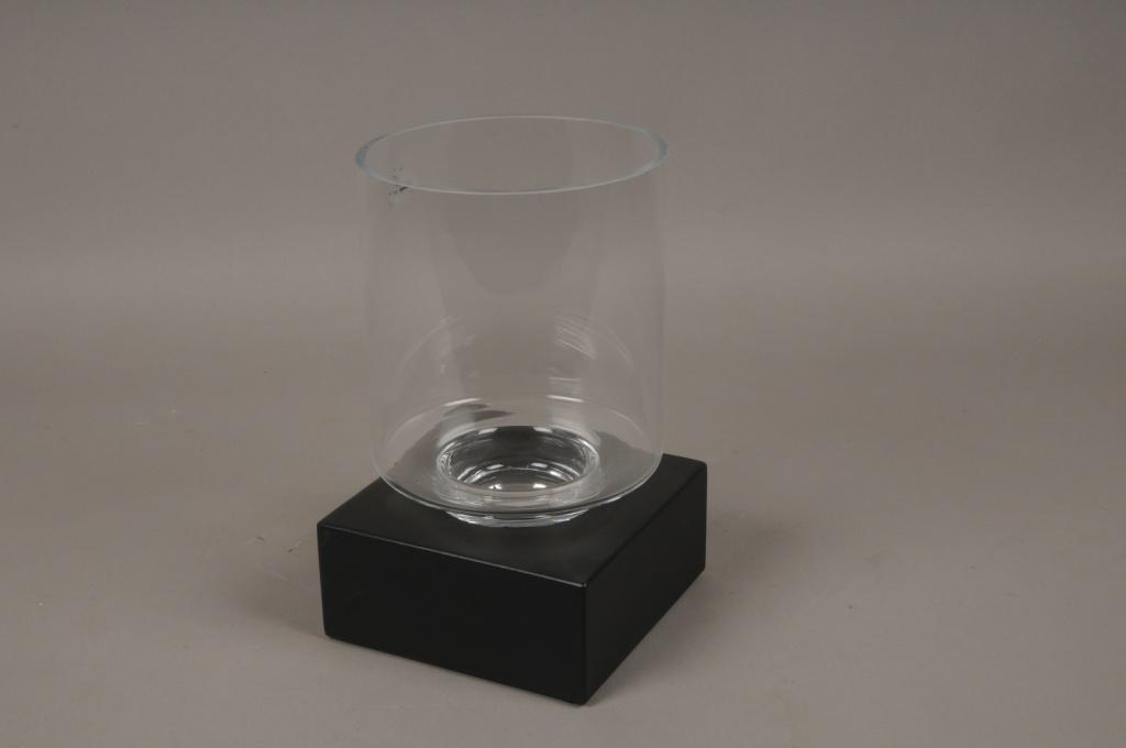 A662UO Photophore en verre sur socle en fer noir 18X18cm H30cm