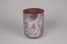 A663DQ Vase en verre rose et gris D15cm H20cm