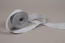 A668UN Ruban de coton tissé gris 40mm x 20m