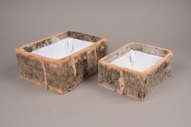 A682UO Set of 2 bark planters H10cm