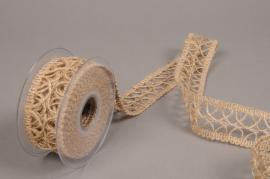 A686UN Natural jute braid ribbon 40mmx5m