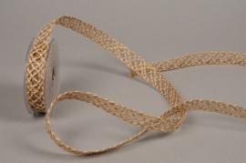 A687UN Natural jute and wire braid ribbon 25mm x 8m