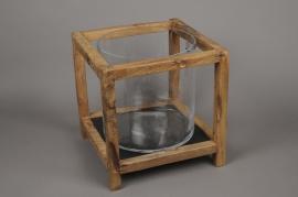 A688UO Photophore en verre avec support en bois 31cm x 31cm H32cm