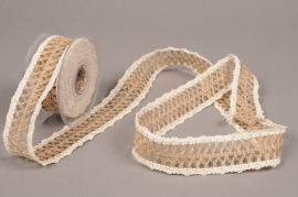 A689UN Natural jute braid ribbon 40mm x 5m