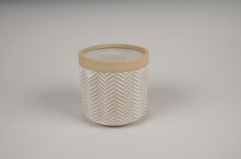 A690LE Cache-pot en céramique blanc D10cm H10cm