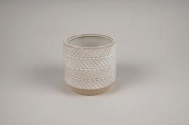 A690LE Cache-pot en céramique blanc D11cm H10.5cm