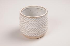 A691LE Cache-pot en céramique blanc dessein ethnique D7cm H7cm