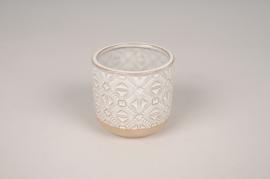 A694LE Cache-pot en céramique blanc design ethnique D7.5cm H7cm