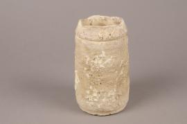 A697WV White terracotta vase D11cm H22cm