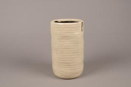 A706WV Vase en céramique beige D13.5cm H24cm