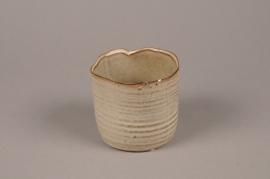 A707WV Cache-pot en céramique beige D11cm H9.5cm