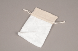 A708UN Pack of 10 white cotton bags H12cm