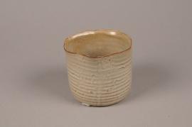 A708WV Cache-pot en céramique beige D12cm H10.5cm
