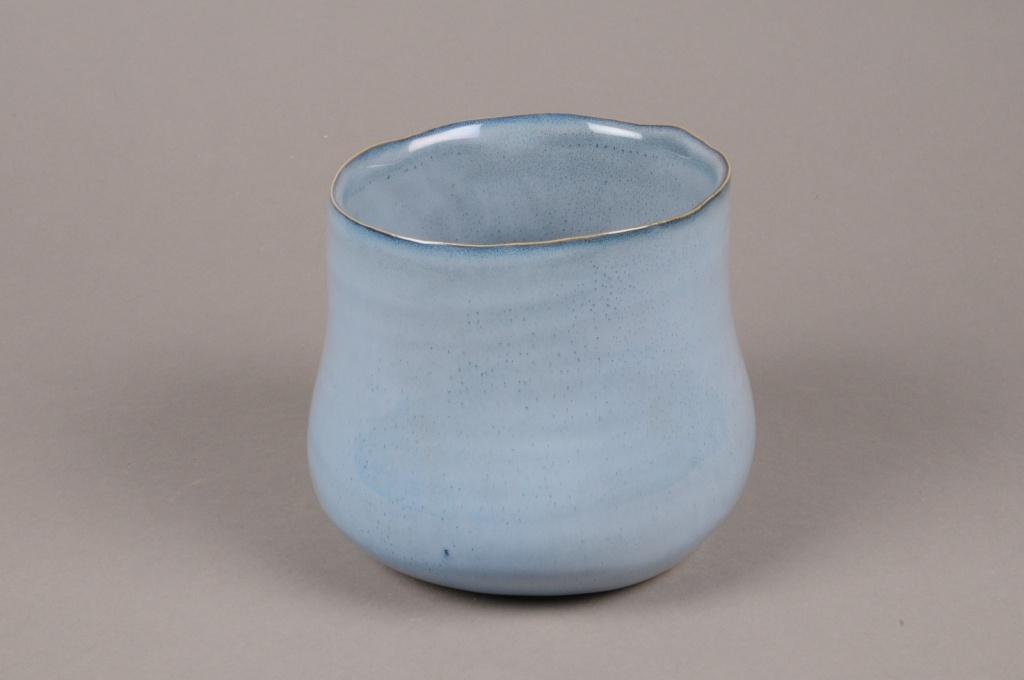 A711WV Cache-pot en céramique bleu D17cm H13cm