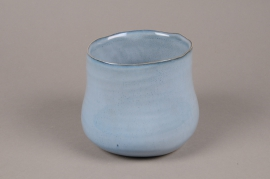 A711WV Blue ceramic planter pot D17cm H13cm