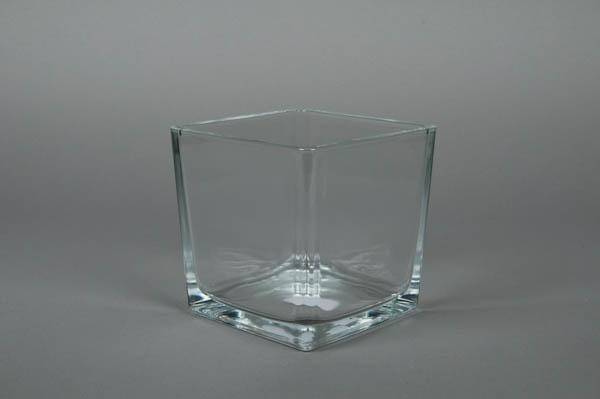 A712IH Vase en verre cube 14x14cm H14cm