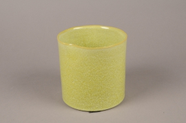 A714WV Green ceramic planter pot D15cm H15cm