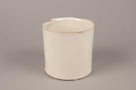 A718WV Cache-pot en céramique crème D13cm H13cm