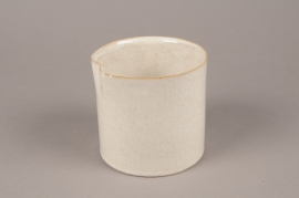 A719WV Cream ceramic planter pot D15cm H15cm