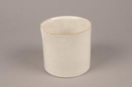 A719WV Cream ceramic planter pot D15cm H15cm