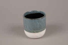 A720WV Blue white ceramic planter pot D10cm H10cm