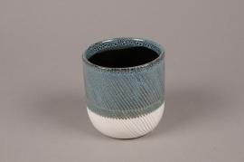 A720WV Cache-pot en céramique bleu blanc D10cm H10cm