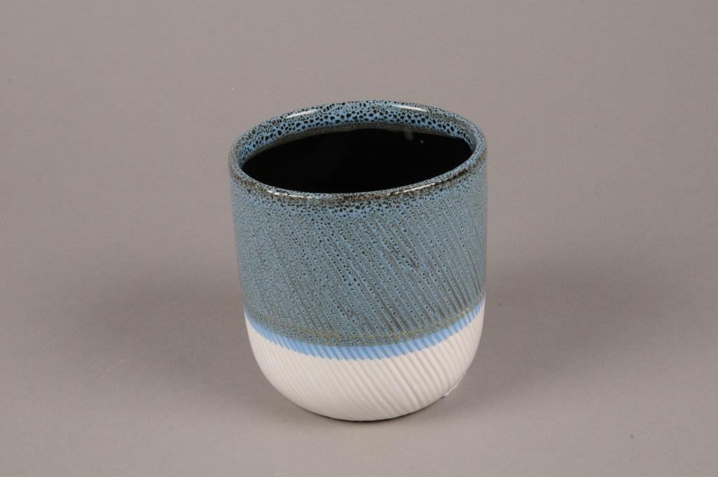 A721WV Cache-pot en céramique bleu blanc D11cm H12cm