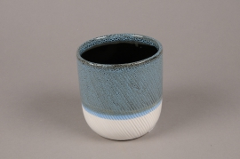 A721WV Blue white ceramic planter pot D11cm H12cm