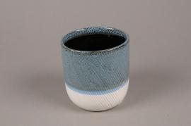 A721WV Blue white ceramic planter pot D11cm H12cm