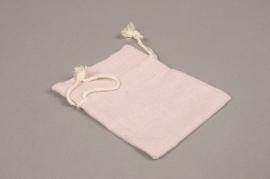 A722UN Pack of 10 pink cotton bags H12cm