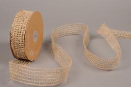 A728UN Natural jute and wire braid ribbon 40mm x 15m